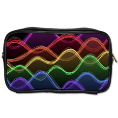 Twizzling Brain Waves Neon Wave Rainbow Color Pink Red Yellow Green Purple Blue Black Toiletries Bags 2 Side
