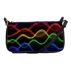 Twizzling Brain Waves Neon Wave Rainbow Color Pink Red Yellow Green Purple Blue Black Shoulder Clutch Bags
