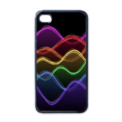 Twizzling Brain Waves Neon Wave Rainbow Color Pink Red Yellow Green Purple Blue Black Apple iPhone 4 Case (Black)