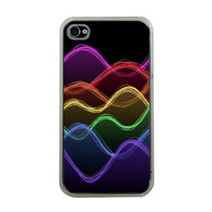 Twizzling Brain Waves Neon Wave Rainbow Color Pink Red Yellow Green Purple Blue Black Apple iPhone 4 Case (Clear)
