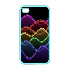 Twizzling Brain Waves Neon Wave Rainbow Color Pink Red Yellow Green Purple Blue Black Apple Iphone 4 Case (color)