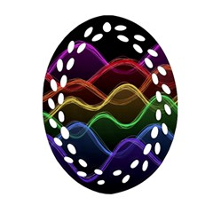 Twizzling Brain Waves Neon Wave Rainbow Color Pink Red Yellow Green Purple Blue Black Ornament (Oval Filigree)