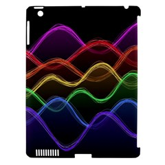 Twizzling Brain Waves Neon Wave Rainbow Color Pink Red Yellow Green Purple Blue Black Apple iPad 3/4 Hardshell Case (Compatible with Smart Cover)