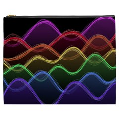 Twizzling Brain Waves Neon Wave Rainbow Color Pink Red Yellow Green Purple Blue Black Cosmetic Bag (XXXL)