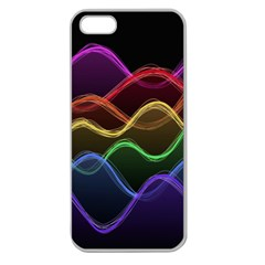 Twizzling Brain Waves Neon Wave Rainbow Color Pink Red Yellow Green Purple Blue Black Apple Seamless iPhone 5 Case (Clear)