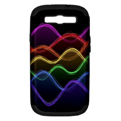 Twizzling Brain Waves Neon Wave Rainbow Color Pink Red Yellow Green Purple Blue Black Samsung Galaxy S III Hardshell Case (PC+Silicone)