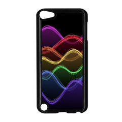 Twizzling Brain Waves Neon Wave Rainbow Color Pink Red Yellow Green Purple Blue Black Apple iPod Touch 5 Case (Black)
