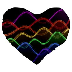 Twizzling Brain Waves Neon Wave Rainbow Color Pink Red Yellow Green Purple Blue Black Large 19  Premium Heart Shape Cushions