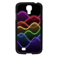 Twizzling Brain Waves Neon Wave Rainbow Color Pink Red Yellow Green Purple Blue Black Samsung Galaxy S4 I9500/ I9505 Case (Black)