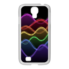 Twizzling Brain Waves Neon Wave Rainbow Color Pink Red Yellow Green Purple Blue Black Samsung Galaxy S4 I9500/ I9505 Case (white)