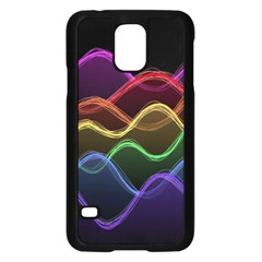 Twizzling Brain Waves Neon Wave Rainbow Color Pink Red Yellow Green Purple Blue Black Samsung Galaxy S5 Case (Black)