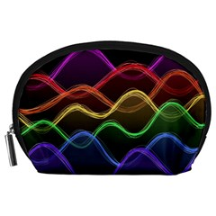 Twizzling Brain Waves Neon Wave Rainbow Color Pink Red Yellow Green Purple Blue Black Accessory Pouches (Large)