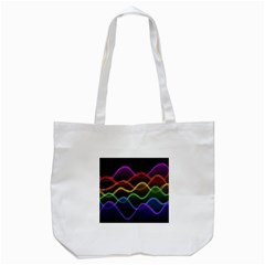 Twizzling Brain Waves Neon Wave Rainbow Color Pink Red Yellow Green Purple Blue Black Tote Bag (White)