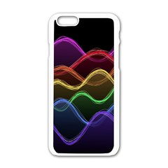 Twizzling Brain Waves Neon Wave Rainbow Color Pink Red Yellow Green Purple Blue Black Apple iPhone 6/6S White Enamel Case