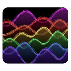 Twizzling Brain Waves Neon Wave Rainbow Color Pink Red Yellow Green Purple Blue Black Double Sided Flano Blanket (Small)