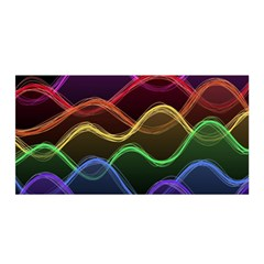 Twizzling Brain Waves Neon Wave Rainbow Color Pink Red Yellow Green Purple Blue Black Satin Wrap