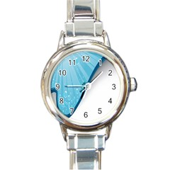 Water Bubble Waves Blue Wave Round Italian Charm Watch