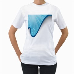 Water Bubble Waves Blue Wave Women s T-Shirt (White) (Two Sided)