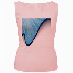 Water Bubble Waves Blue Wave Women s Pink Tank Top