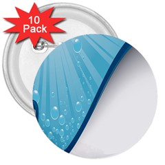 Water Bubble Waves Blue Wave 3  Buttons (10 pack)