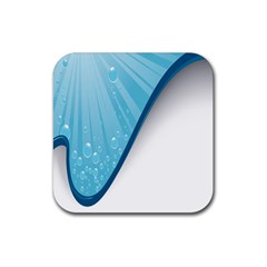 Water Bubble Waves Blue Wave Rubber Square Coaster (4 pack)