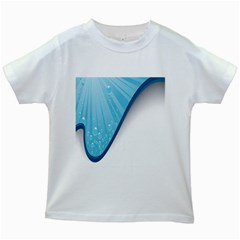 Water Bubble Waves Blue Wave Kids White T-Shirts
