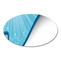 Water Bubble Waves Blue Wave Oval Magnet