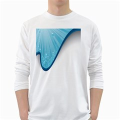 Water Bubble Waves Blue Wave White Long Sleeve T-Shirts