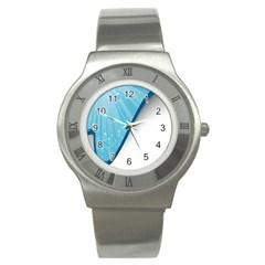 Water Bubble Waves Blue Wave Stainless Steel Watch