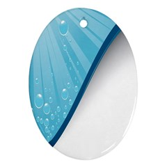 Water Bubble Waves Blue Wave Oval Ornament (Two Sides)