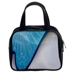 Water Bubble Waves Blue Wave Classic Handbags (2 Sides)