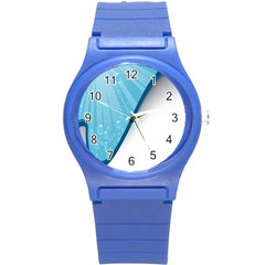 Water Bubble Waves Blue Wave Round Plastic Sport Watch (S)