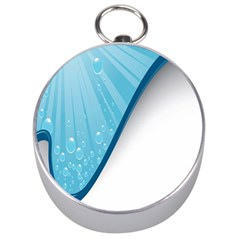 Water Bubble Waves Blue Wave Silver Compasses