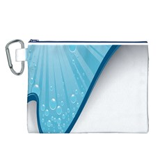 Water Bubble Waves Blue Wave Canvas Cosmetic Bag (L)