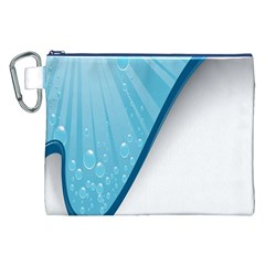 Water Bubble Waves Blue Wave Canvas Cosmetic Bag (XXL)