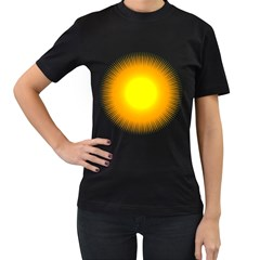 Sunlight Sun Orange Yellow Light Women s T-Shirt (Black) (Two Sided)