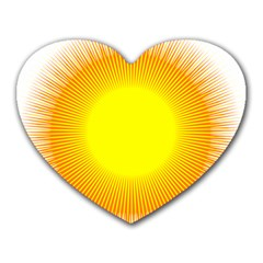 Sunlight Sun Orange Yellow Light Heart Mousepads