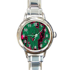 Reaction Diffusion Green Purple Round Italian Charm Watch