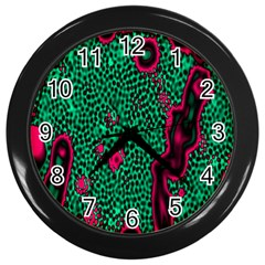 Reaction Diffusion Green Purple Wall Clocks (Black)
