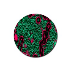 Reaction Diffusion Green Purple Rubber Coaster (Round)