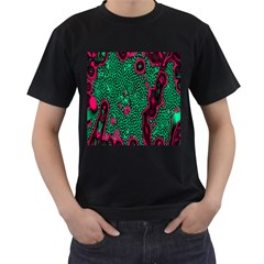 Reaction Diffusion Green Purple Men s T-Shirt (Black) (Two Sided)