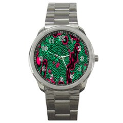 Reaction Diffusion Green Purple Sport Metal Watch