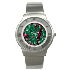 Reaction Diffusion Green Purple Stainless Steel Watch