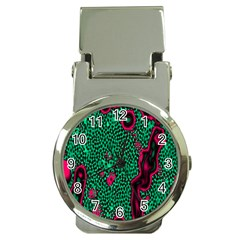 Reaction Diffusion Green Purple Money Clip Watches