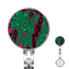 Reaction Diffusion Green Purple Stainless Steel Nurses Watch