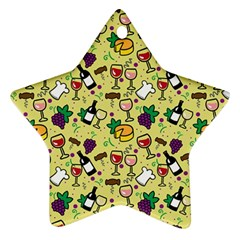 Wine Cheede Fruit Purple Yellow Ornament (star)