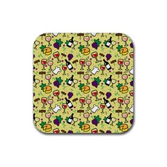 Wine Cheede Fruit Purple Yellow Rubber Square Coaster (4 pack)