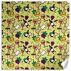 Wine Cheede Fruit Purple Yellow Canvas 12  x 12