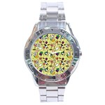 Wine Cheede Fruit Purple Yellow Stainless Steel Analogue Watch Front