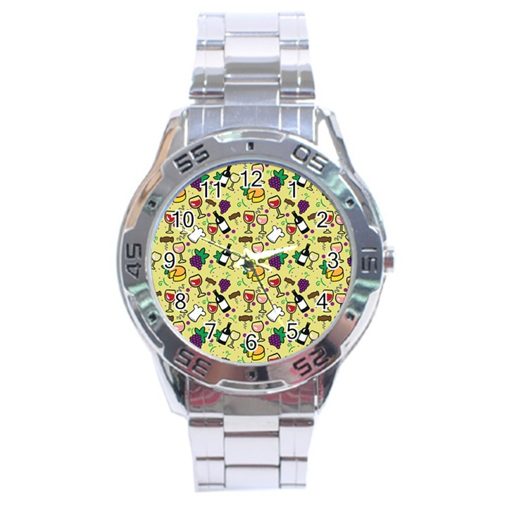 Wine Cheede Fruit Purple Yellow Stainless Steel Analogue Watch